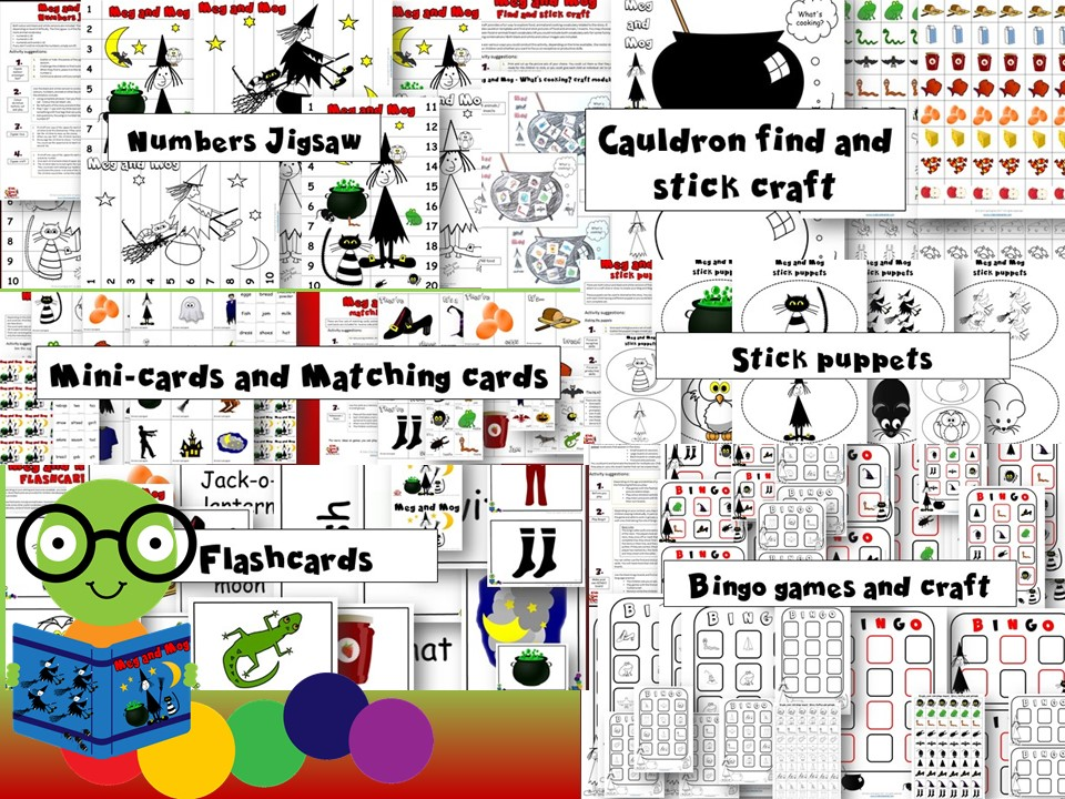 Meg and Mog Activity Pack - Halloween, food, clothes, animals - Stories + Craft