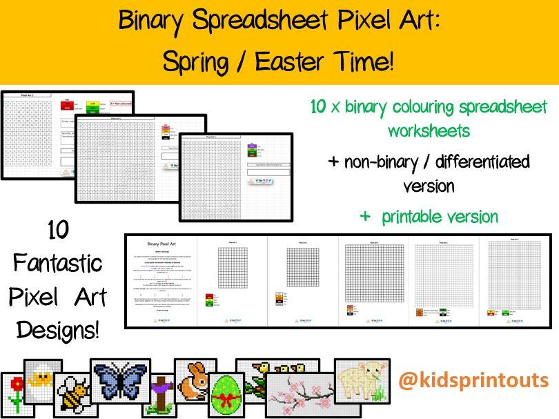 Spring / Easter Binary Pixel Art - spreadsheet, printable and differentiation