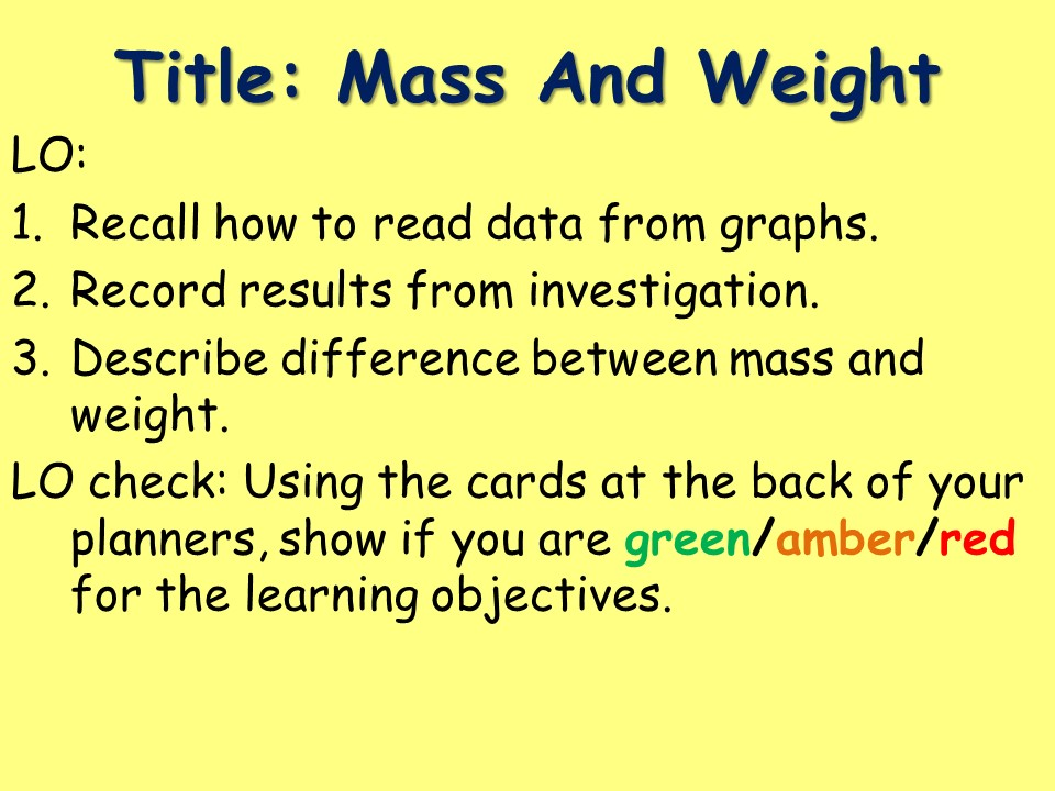KS3 PHYSICS: DIFFERENCE BETWEEN MASS AND WEIGHT