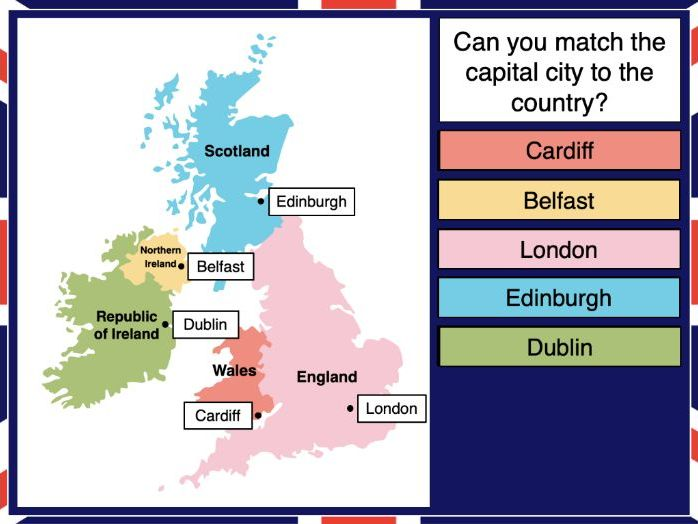 Identifying the countries and capitals of the UK
