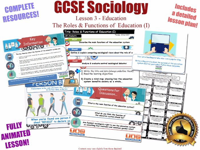 Roles & Functions of Education - Sociology of Education L3/20  [ WJEC EDUQAS GCSE Sociology ]