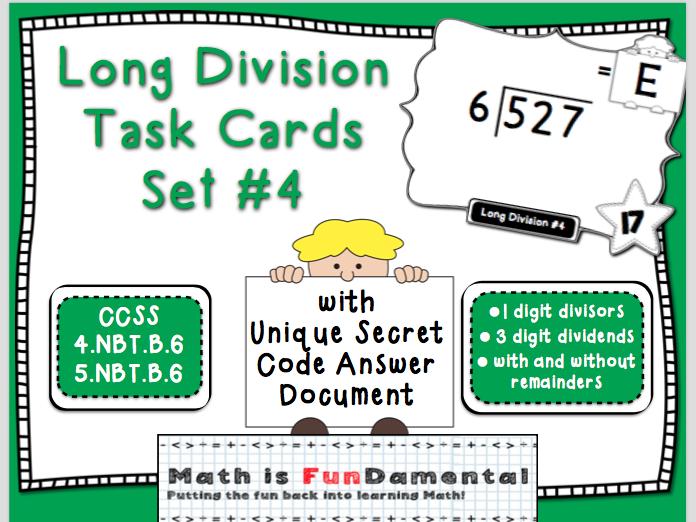 Long Division Task Card Set #4 - w/ unique answer code - 4/5.NBT.B.6