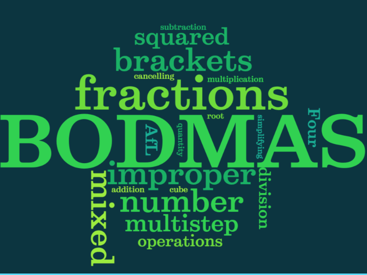 UKS2 (Year 5 and Year 6) four operations with fractions, mixed numbers etc. using BODMAS