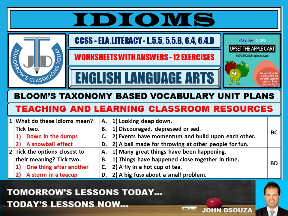 IDIOMS: WORKSHEETS WITH ANSWERS - 12 EXERCISES