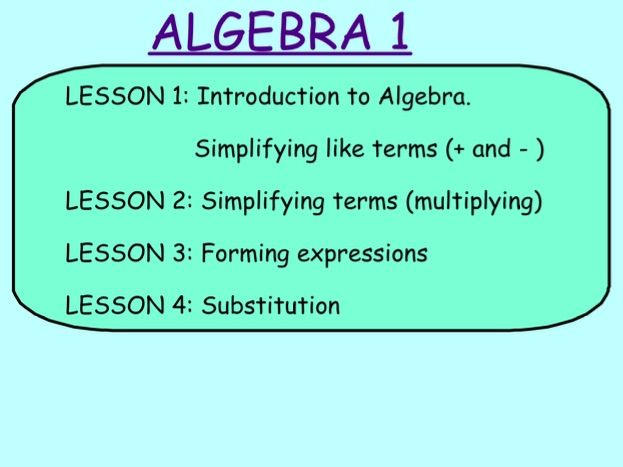 ALGEBRA 1: Simplifying and forming expression AND substitution, S1 S2 S3 S4