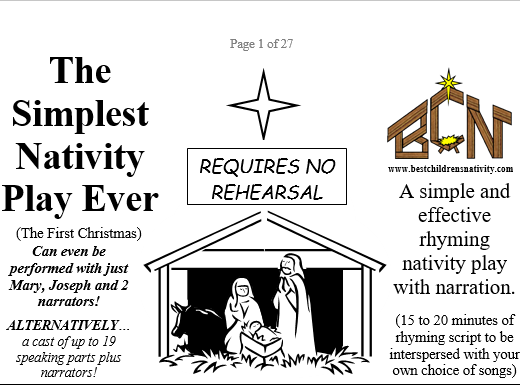 The Simplest Nativity Play Ever! Individual cast's parts are prepared ready to print and distribute.