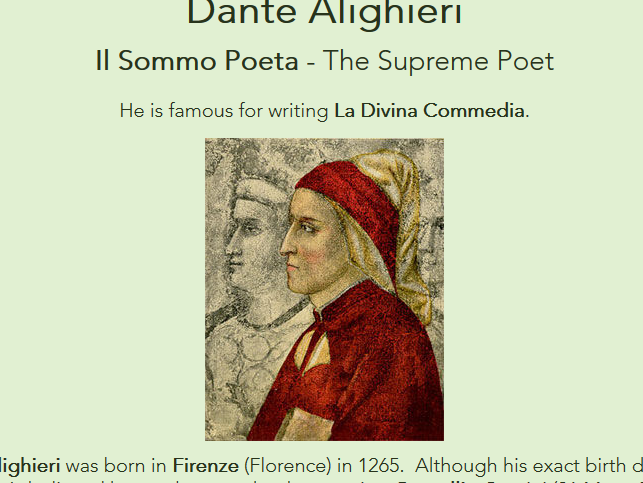 Famous Italians - worksheets + web pages