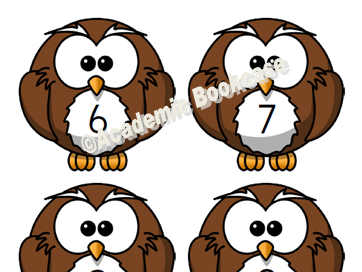 Numbers 0-20 on owls