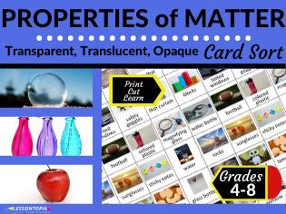 Properties of Matter: Transparent, Translucent, Opaque Card Sort