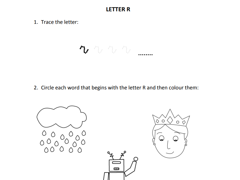 Learning letter R for Reception students