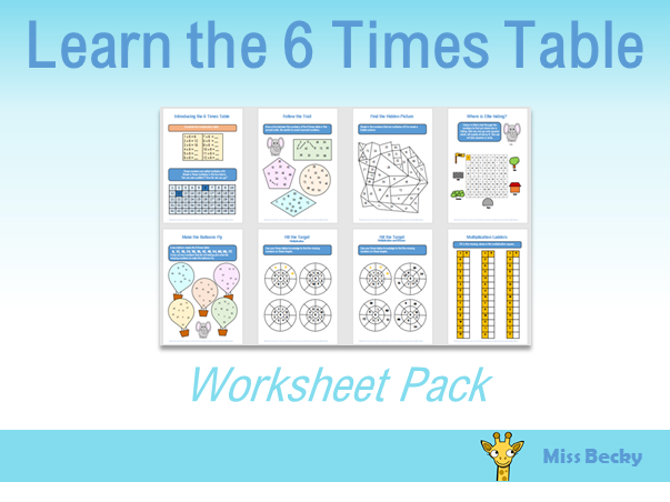 6 Times Table Worksheet Pack