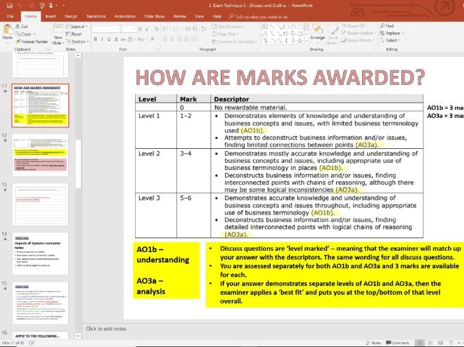 Exam Technique Lesson 2 - Discuss and Outline - GCSE Edexcel Business