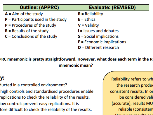 How to outline and evaluate research - AQA A-level psychology
