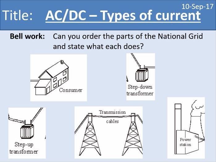 AQA New GCSE Electricity - Lesson 13 - Types of current - AC DC