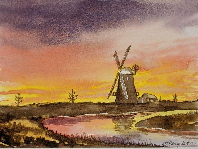 Windmill in watercolour