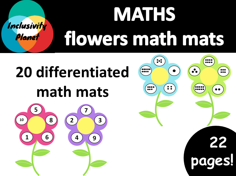 Flowers MATH MATS numbers and counting 1-10