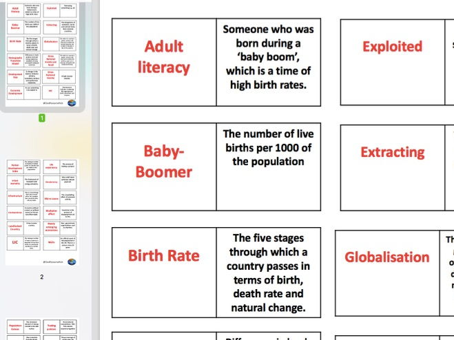 Economic World Key Word Dominoes (AQA 9-1)