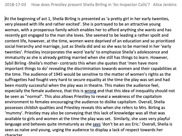 GCSE An Inspector Calls Full Marks Level 9 Exemplar Essay Sheila Birling