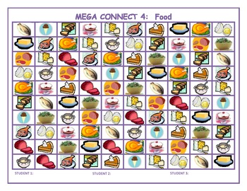 Food Mega Connect 4 game