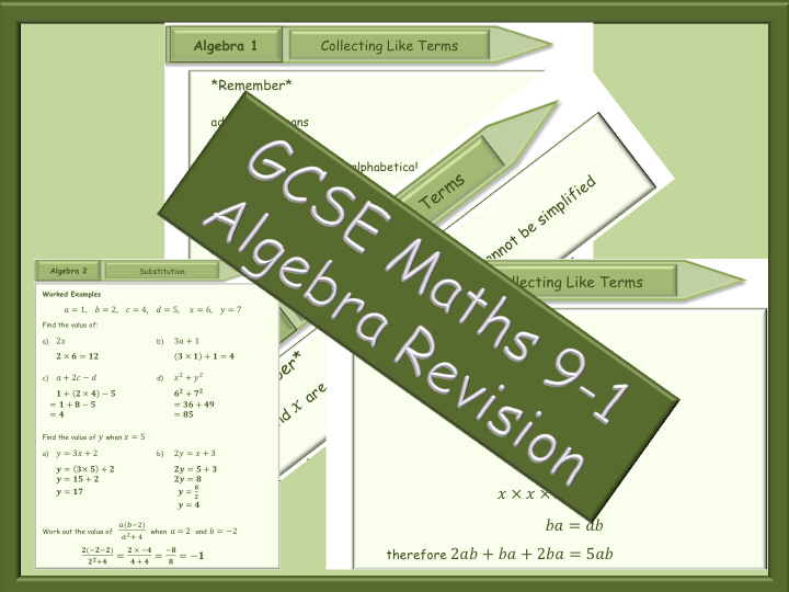 GCSE Algebra Revision 9-1 - Collecting like terms - Substitution