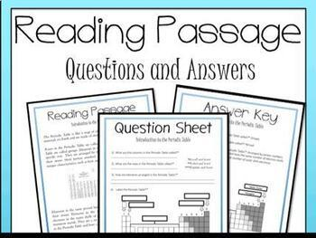 Periodic Table Introduction Reading Passage