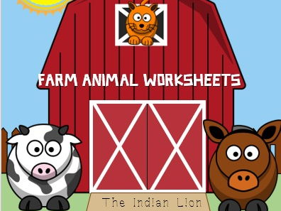 Farm animal worksheet for  preschool