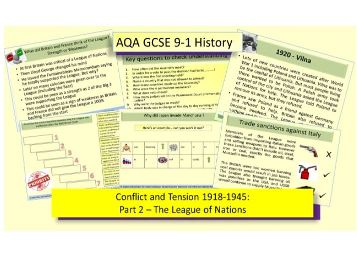 AQA GCSE 9-1 Conflict and Tension 1918-1939: The League of Nations Part 2