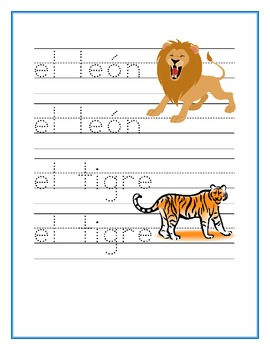 Animales del zoologico (Zoo animals in Spanish) worksheets