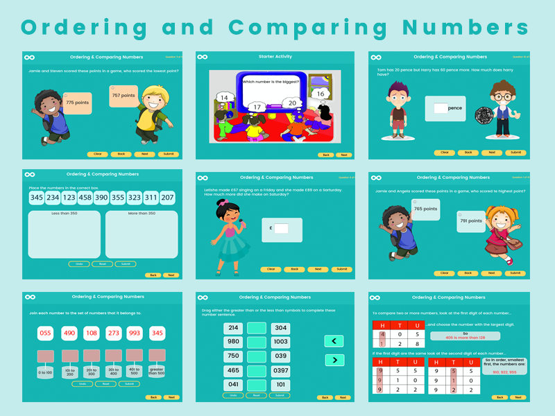Ordering and comparing numbers - Year 3