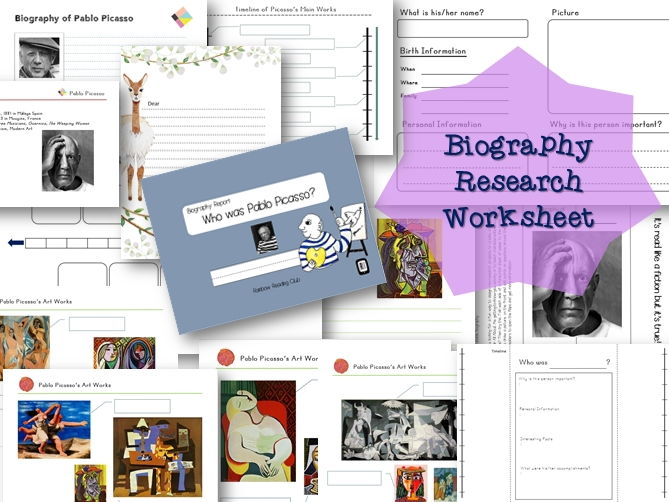 Biography Research Report / Pablo Picasso Biography worksheet