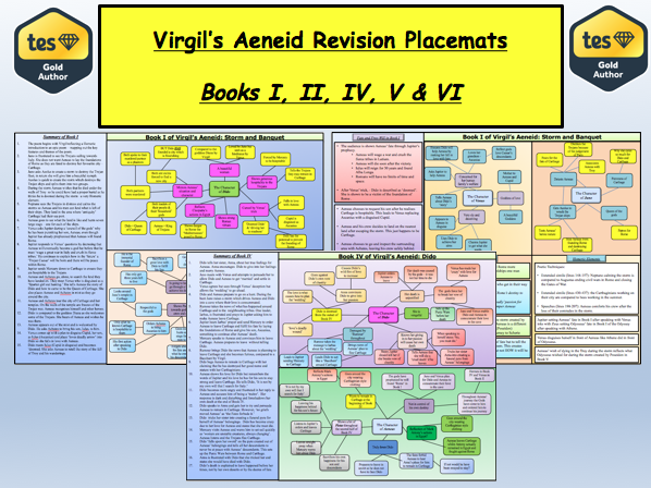 Virgil's Aeneid Revision Placemats (Books I, II, IV, V and VI)