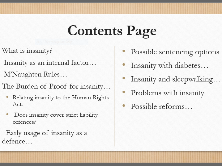 Insanity Revision (AS and A2 Law: Defences)
