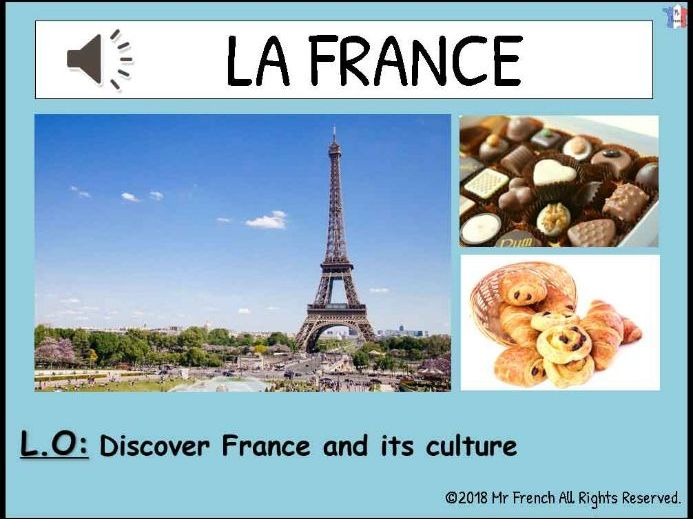 Introduction France and its culture - 1 lesson! Y3/Y4/Y5/Y6   (2nd Grade-> 5th Grade)