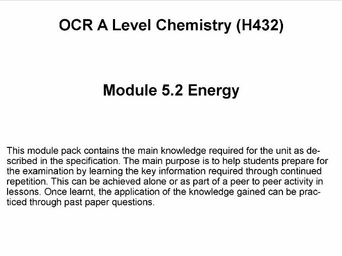 OCR A Level Chemistry (H432)      Module 5.2 Energy