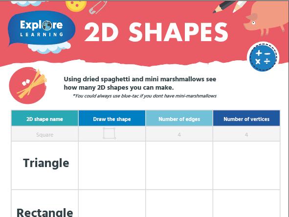 Free 2D & 3D Shapes activity sheets