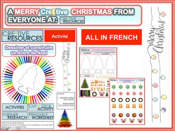 Joyeux Noël - Dessiner et construire un Arbre de Noel en 3D - French Christmas Activity Pack