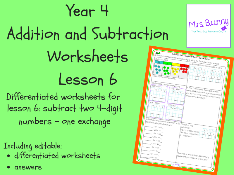 Subtract two 4-digit numbers - one exchange worksheets (Year 4 Addition and Subtraction)