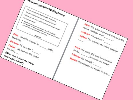 GCSE English Language Q3 Structure Writing Frame