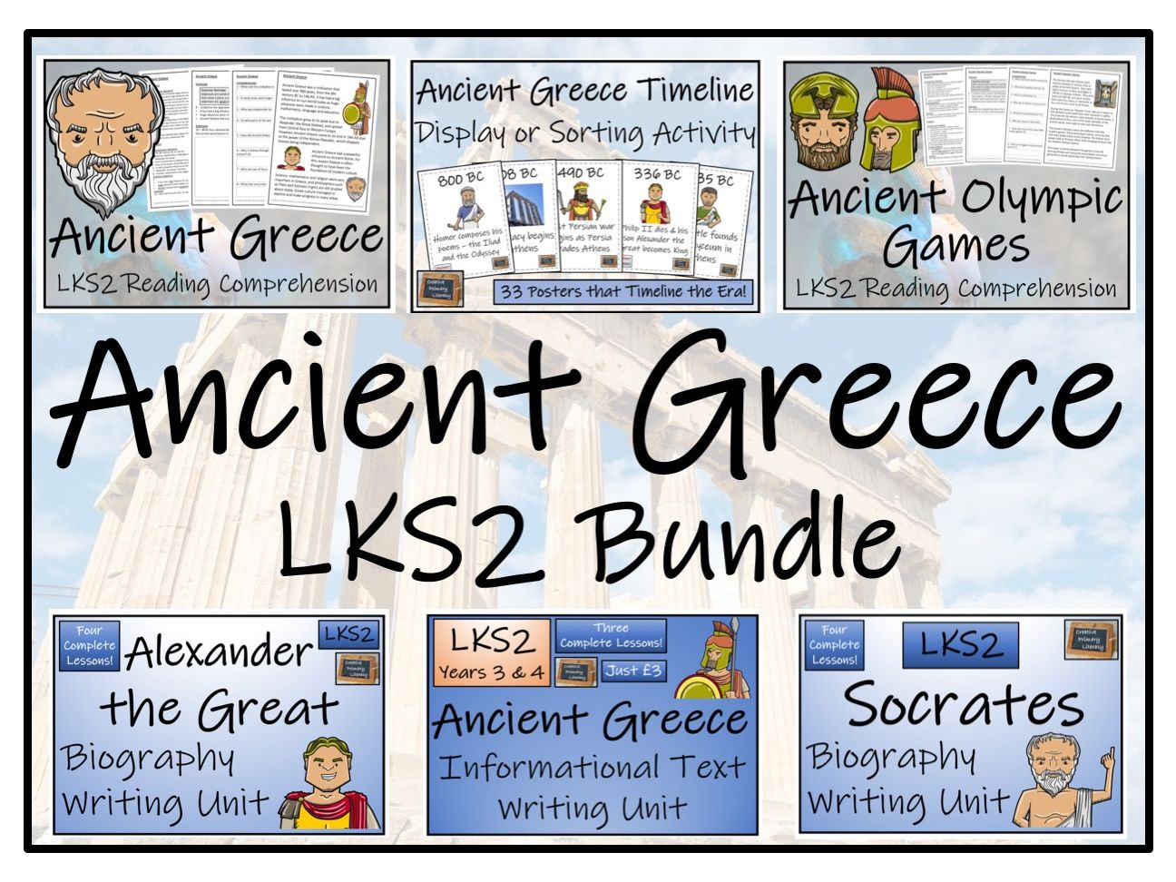 LKS2 Ancient Greece Display, Reading Comprehension & Writing Bundle