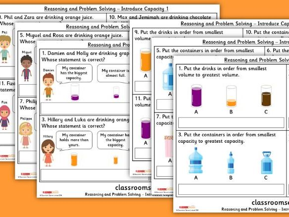 Year 1 Introduce Capacity Spring Block 4 Reasoning and Problem Solving Pack