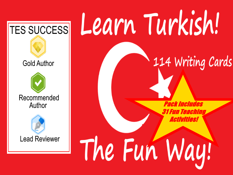 114 Turkish Writing Worksheets For Writing Practice + 31 Fun Teaching Activities For These Cards