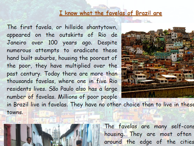 Favelas of Brazil information text comprehension activity Slum Towns