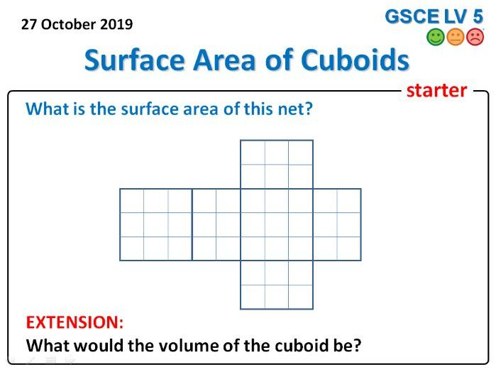 Surface Area of Cuboids Lesson