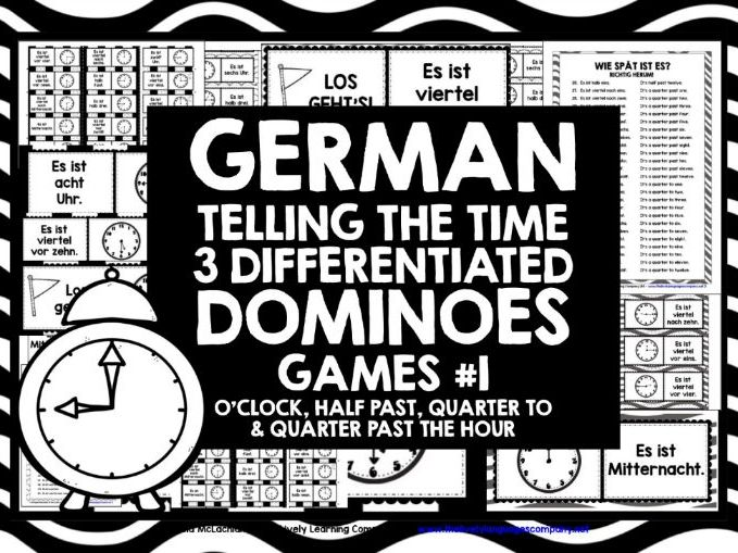 GERMAN TELLING TIME DOMINOES 1