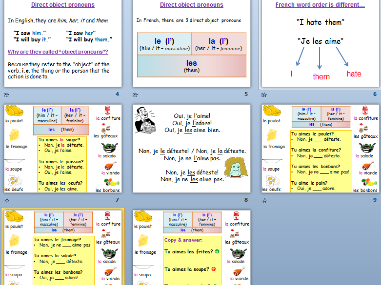 KS3/4 French: Food - direct object pronouns