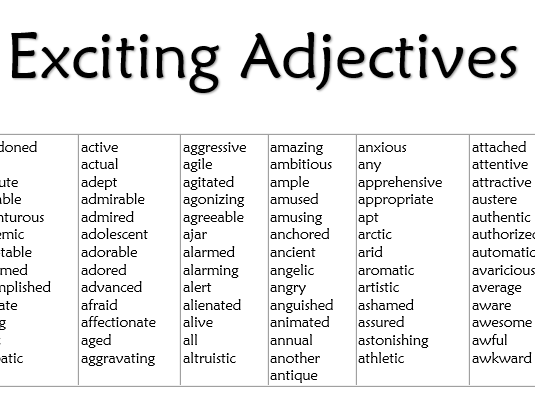 exciting adjectives list by misscresources