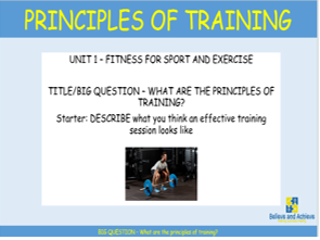 Principles of training: BTEC Sport level 2 Unit 1 (2018)