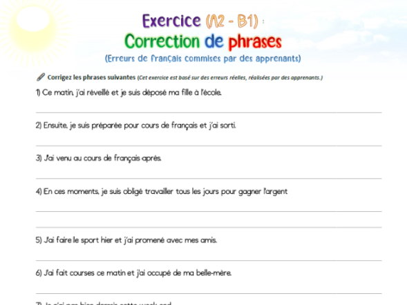 [French A2-B1] Correct the sentences - Avoid common mistakes