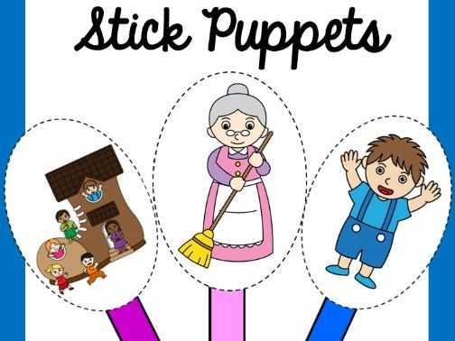 The Old Woman who lived in a shoe Stick Puppets
