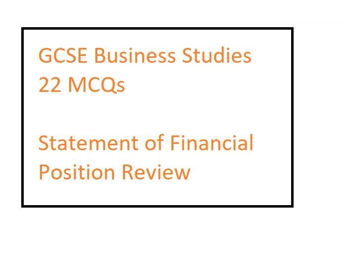 Edexcel GCSE 22 MCQ Statement of Financial Position review